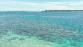 A?reo: vuelo sobre el arrecife de coral blanco del agua de la turquesa del mar del Caribe de la playa de la isla tropical Islas d almacen de metraje de vídeo