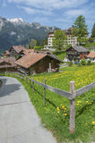 Reosrt village Wengen, Swiss. Idyllic landscape of reosrt village Wengen, Swiss Royalty Free Stock Photos