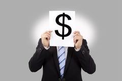 Repère d'argent de fixation d'homme d'affaires photos stock