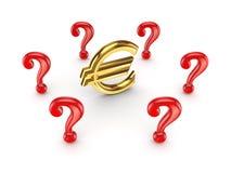 Repères rouges de requête autour d'euro signe. illustration de vecteur