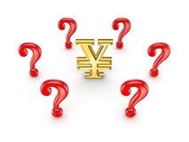 Repères rouges de requête autour de signe de Yens. illustration stock