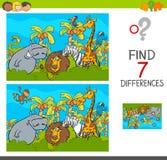 Repérez le jeu de différences avec des animaux de safari illustration stock