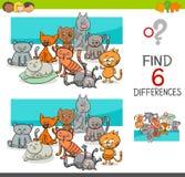 Repérez les différences avec des chats ou des chatons Photographie stock