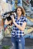 Repórter da menina Fotos de Stock