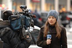 Repórter NY1 Imagens de Stock