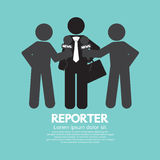 Repórter preto do símbolo Fotografia de Stock
