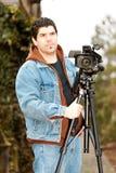 Repórter video americano Imagens de Stock Royalty Free