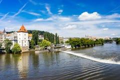 República Checa de Moldava Praga del río Foto de archivo libre de regalías