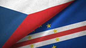 República Checa e pano de matéria têxtil das bandeiras de Cabo Verde dois do cabo, textura da tela ilustração do vetor