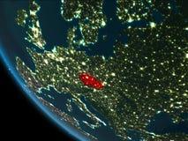 República Checa en la noche de la órbita stock de ilustración
