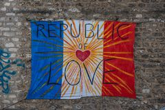 República da arte Paris da bandeira do amor ilustração do vetor