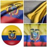 República da ondulação da bandeira de Equador Fotos de Stock Royalty Free