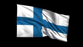 República de colocación inconsútil de la bandera de Finlandia que agita en el viento, canal alfa incluido almacen de metraje de vídeo