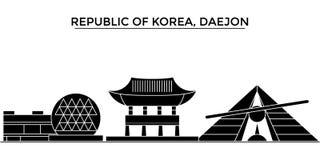 República de Corea, horizonte de la ciudad del vector de la arquitectura de Daejon, paisaje urbano del viaje con las señales, edi stock de ilustración