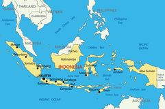 República de Indonesia - mapa Fotografía de archivo libre de regalías