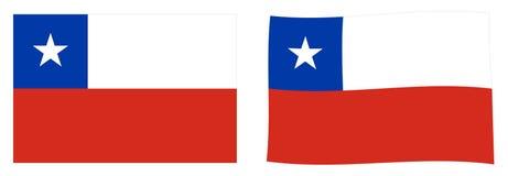 República de la bandera de Chile Versión simple y levemente que agita stock de ilustración