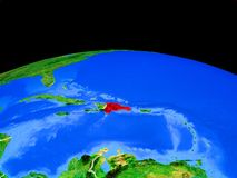 República Dominicana do espaço na terra ilustração do vetor