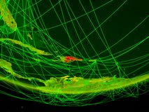 República Dominicana en el modelo verde de la tierra del planeta con la red que representa era digital, viaje y la comunicación i ilustración del vector
