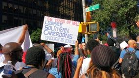 República dos Camarões, protestadores do sul de Cameroons/Ambazonia, NYC, NY, EUA Fotografia de Stock