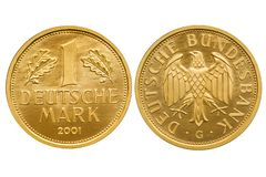 República Federal de Alemania 1 moneda de oro de la marca 2001 imágenes de archivo libres de regalías