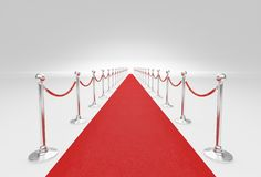 Rep för röd matta och barriär Arkivfoto