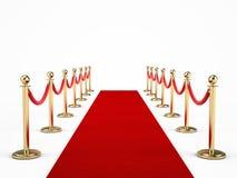 Rep för röd matta som och barriärisoleras på vit royaltyfri illustrationer