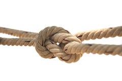 Rep knuten vit bakgrund Arkivfoto