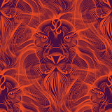 Repaint seamless pattern: fiery Leo. Mesmerizing sight of a lion in red tones Royalty Free Illustration