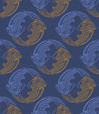 Repaint seamless pattern: fish. Easy to recolor pattern Royalty Free Illustration