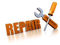 Repair. 3d illustration of text 'repair' with wrench and screwdriver, over white background Royalty Free Stock Photography