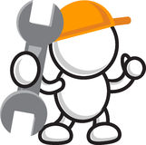 Repair. Illustration of cartoon worker character repair something Stock Images
