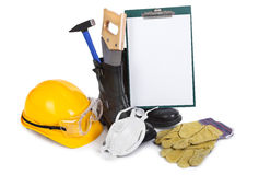 Repair accessories and clipboard Stock Images