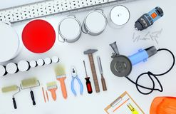 Repair Accessories. Set of tools and paints for making repair. Diagonal royalty free stock images