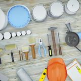 Repair Accessories. Set of tools and paints for making repair. Stock Images