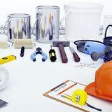 Repair Accessories. Set of tools and paints for making repair. W. Hite background stock photo