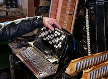 Repair accordion. Divorced harmonica for repair and cleaning Stock Images