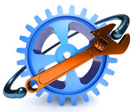 Repair, adjustment and tuning service icon. Gear and wrench  on white background Royalty Free Stock Photography