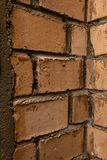 Old brickwork, inner corner of the wall royalty free stock image