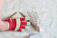 Repair in the apartment. Removal wallpaper Stock Photos