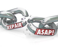Repair ASAP Breaking Chain Links. The words Repair ASAP on breaking metal chain links to illustrate the need to fix a damaged or dysfunctional item Stock Photography