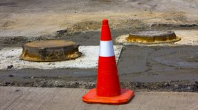 Repair of asphalt process of restoration of a road cloth Royalty Free Stock Images