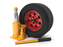 Repair of automobiles. 3d illustration: Repair of automobiles, the jack on a white background Royalty Free Stock Photo