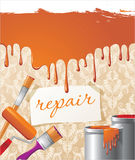 Repair backgropund. Repair concept backgropund with brushes and paints Stock Photo