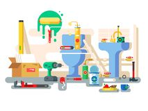 Repair of bathroom toilet bowl and washbasin Royalty Free Stock Images