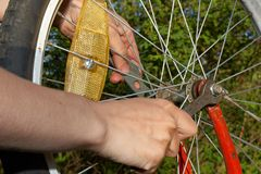 Repair of bicycle Royalty Free Stock Photo