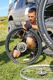 Repair  bicycle wheel Stock Photo