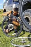 Repair  bicycle wheel Stock Photos