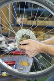 Repair bicycle Stock Photography