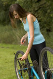 Repair a bike Stock Photography