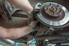 Repair of brake system on car wheels.  royalty free stock photo